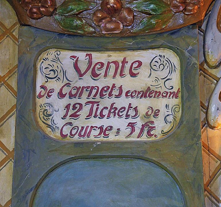 Ein altes Preisschild (auf Französisch)  | Foto: Klaus Fischer