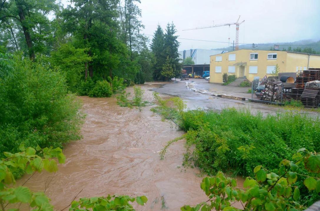 Bei Wittlingen schwappte das Hochwasser Richtung Gewerbegebiet.    Foto: Markus Maier