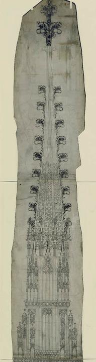 Erwin v. Steinbach zugeschrieben: Zeic...des Freiburger Münsterturms, um 1290      Foto: verlag