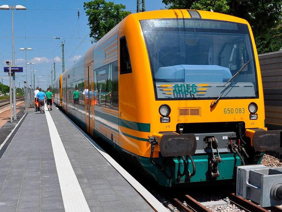 Weil die neuen Elektrozüge noch auf si...hen Eisenbahn-Gesellschaft angemietet.  | Foto: Rainer Ruther