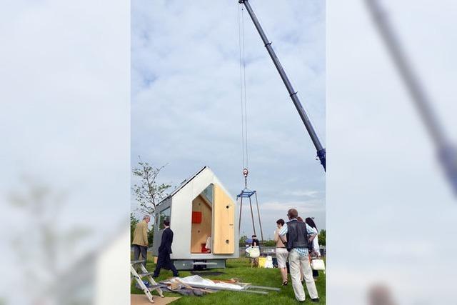 Riesenkran fürs Mini-Haus