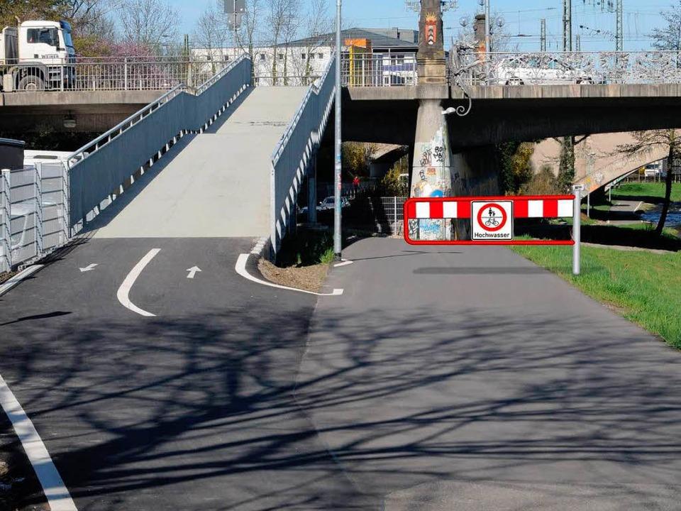 Schranken sollen den Weg bei Hochwasse... Fotomontage von der Schnewlinbrücke.   | Foto: Garten- und Tiefbauamt