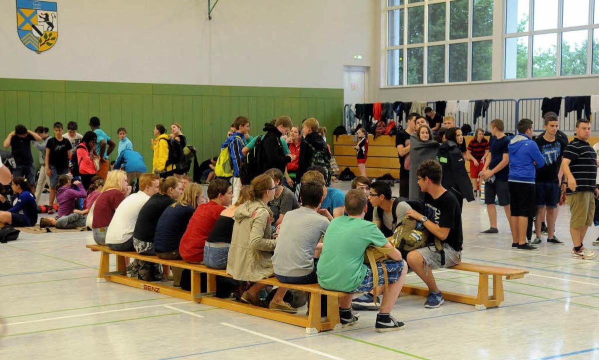 Die Kahlenberg-Sporthalle als Notunterkunft.    Foto: WOLFGANG KUENSTLE
