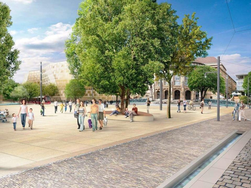 So soll der Platz der Alten Synagoge i...iburg nach der Umgestaltung  aussehen.    Foto: Abdruck nur mit Nennung www.gd90.de