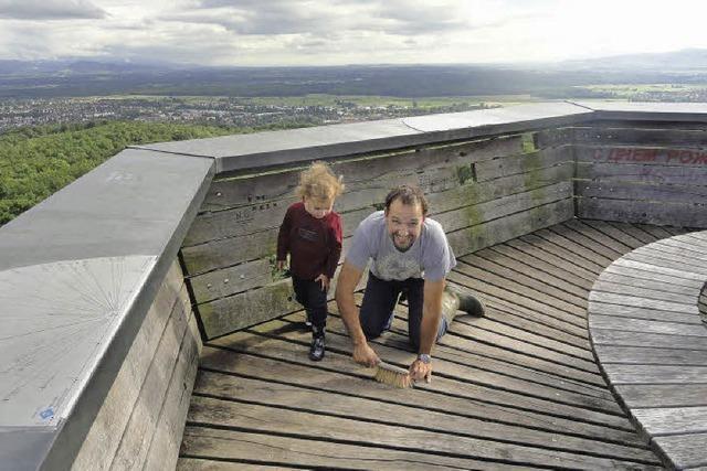 Reinemachen auf dem Eichbergturm