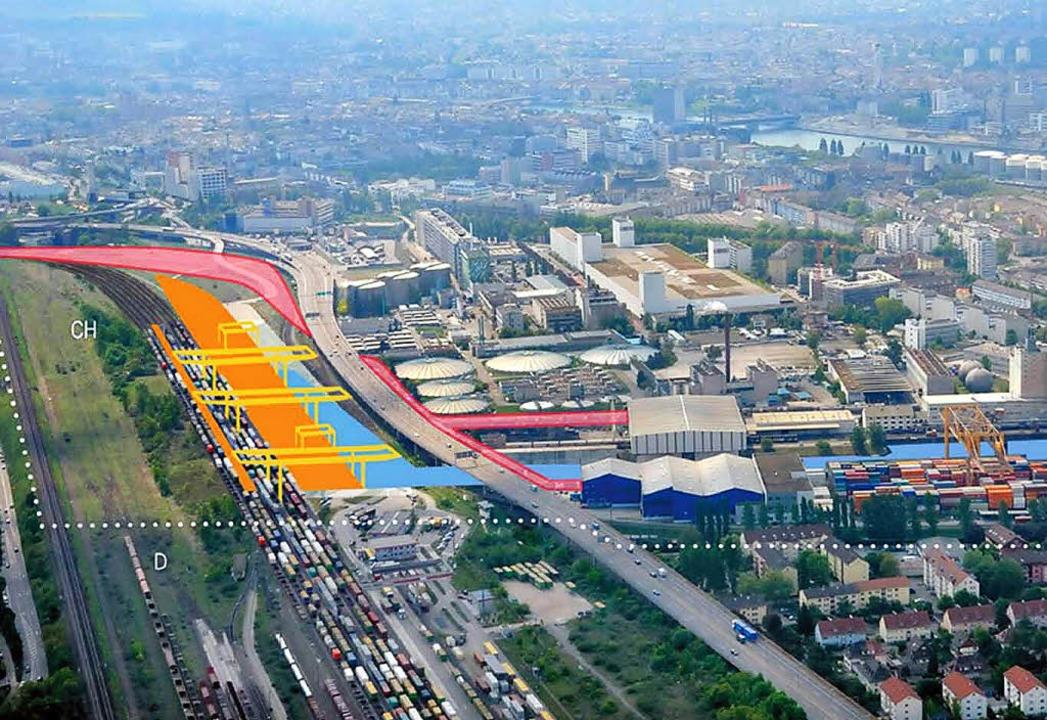 Das geplante Hafenbecken mit Container...zverlauf nach Weil (gepunktete Linie).    Foto: Basel-Stadt