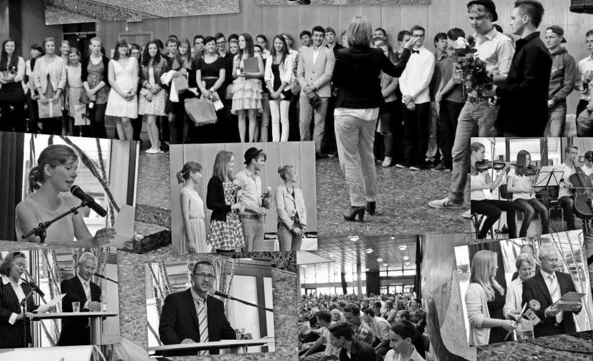 Bunter Abschied in Schwarz-Weiß: Faust... der Abiturzeugnisse zusammengestellt.  | Foto: Heinz Bayer