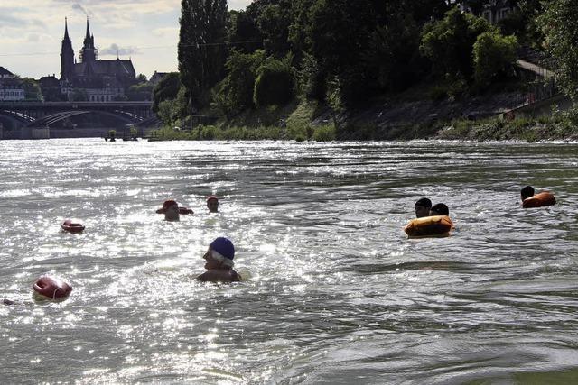 Immer dienstags: Begleitetes Rheinschwimmen in Basel