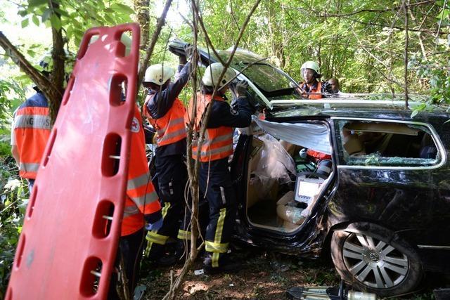 Unfall auf der A5 bei Freiburg: Autofahrer rast gegen mehrere Bäume