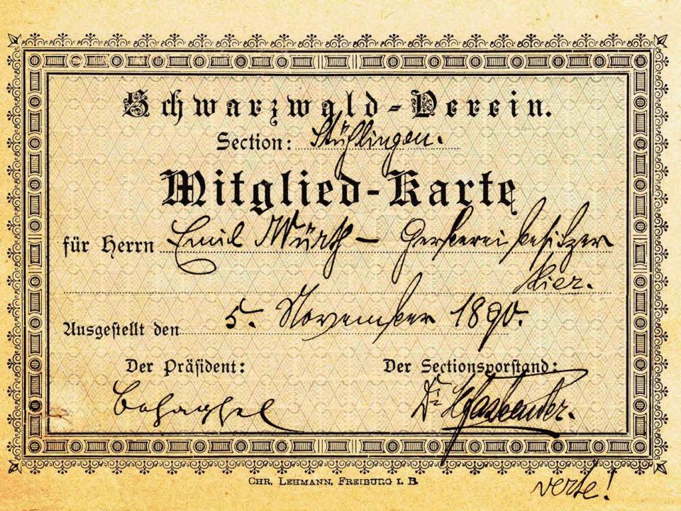 Die älteste erhaltene Mitgliedskarte stammt vom Gerbereibesitzer Emil Würth.    Foto: Repro Binner-Schwarz
