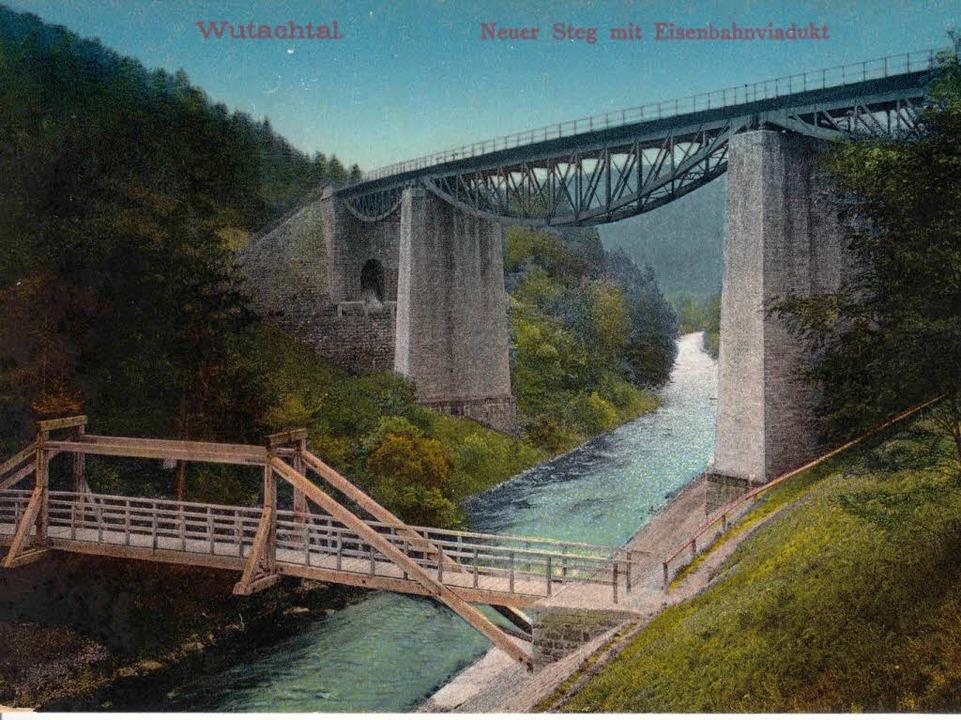 Durch den Bau des Fußgängerstegs im We...rein 1909 die Wutachflühen zugänglich.    Foto: Repro Binner-Schwarz