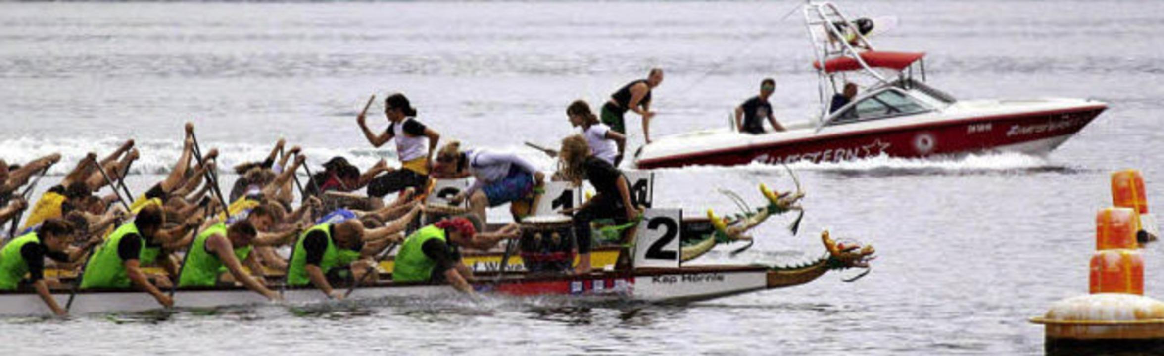 Eine ganze Drachenkopflänge voraus war...er Konkurrenz in Meilen am Zürichsee.   | Foto: privat