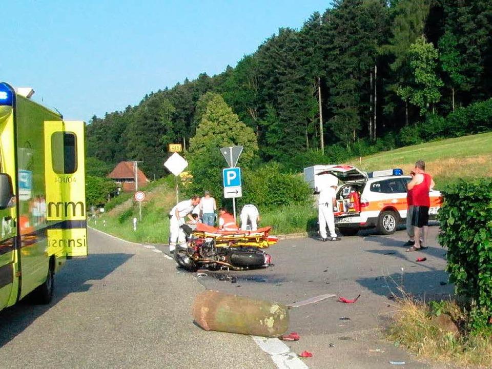 Die Unfallstelle auf dem Schönberg.  | Foto: Polizei
