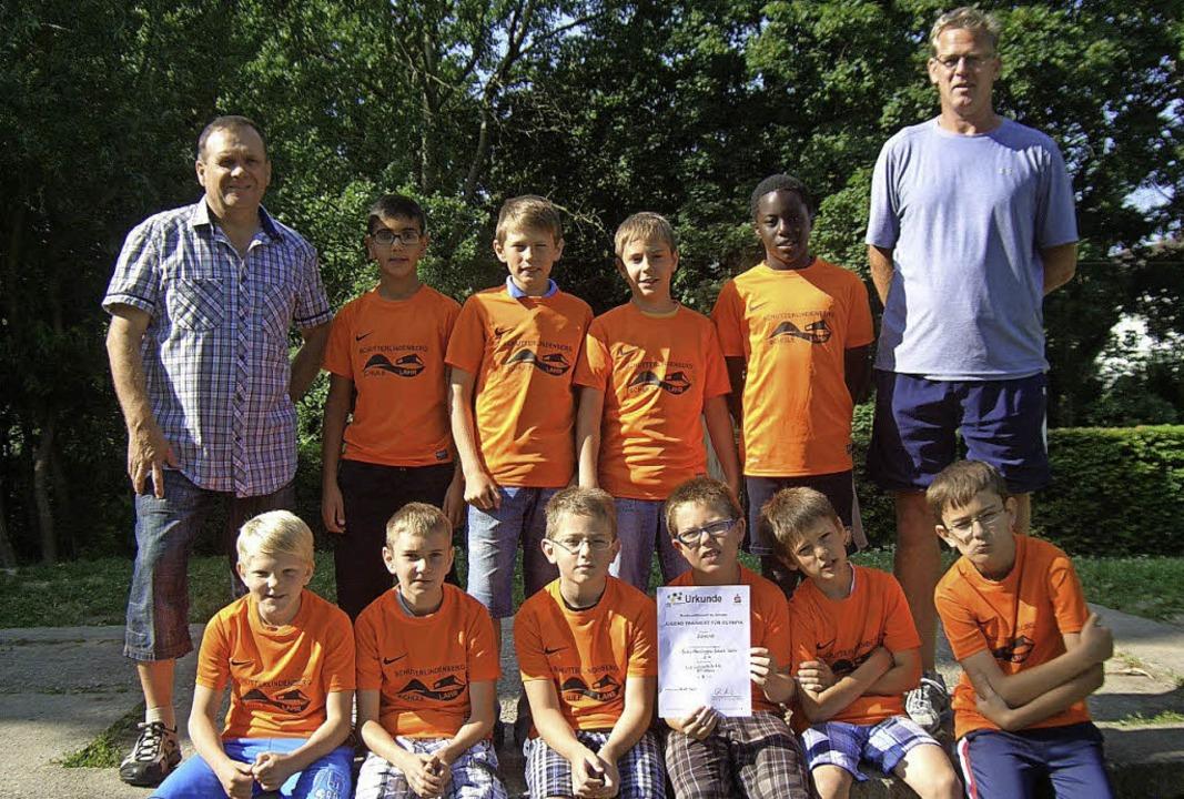 <BZ-HZ18></BZ-HZ18>Die Leichtathletik-...puli. Es    fehlt  Patrick Rottermel.   | Foto: Schule