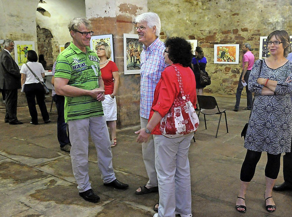 Wer sich auf  Rolf Monzel (links) einl...dernde Ausstellung im Lotzbeck-Palais.  | Foto: Wolfgang Künstle