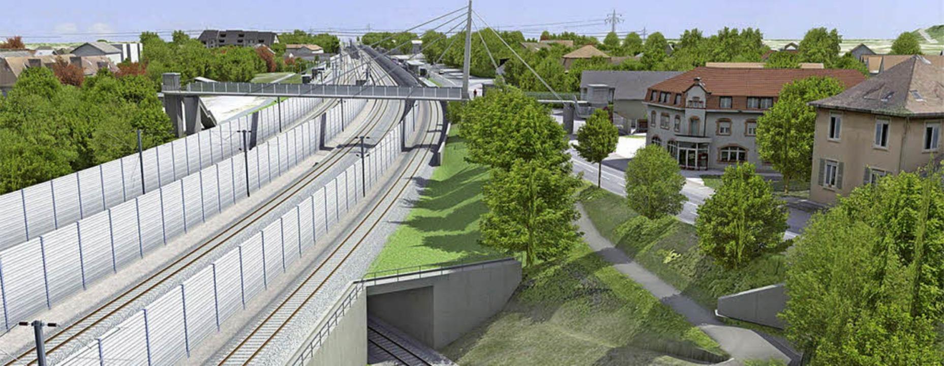 So soll einmal der Steg über die Bahn ...nten führt ein Gleis zur Gruppe 4411.   | Foto: Computergrafiken: Deutsche Bahn