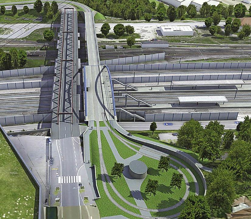 Friedensbrücke (links) und Trambrücke ...leife (unten) aus der Vogelperspektive  | Foto: Deutsche Bahn