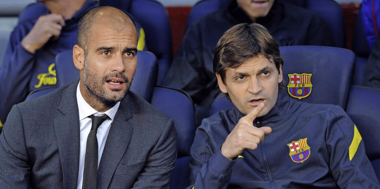Einst sprachen sie mehr miteinander al...p Guardiola (links) und Tito Vilanova     Foto: afp