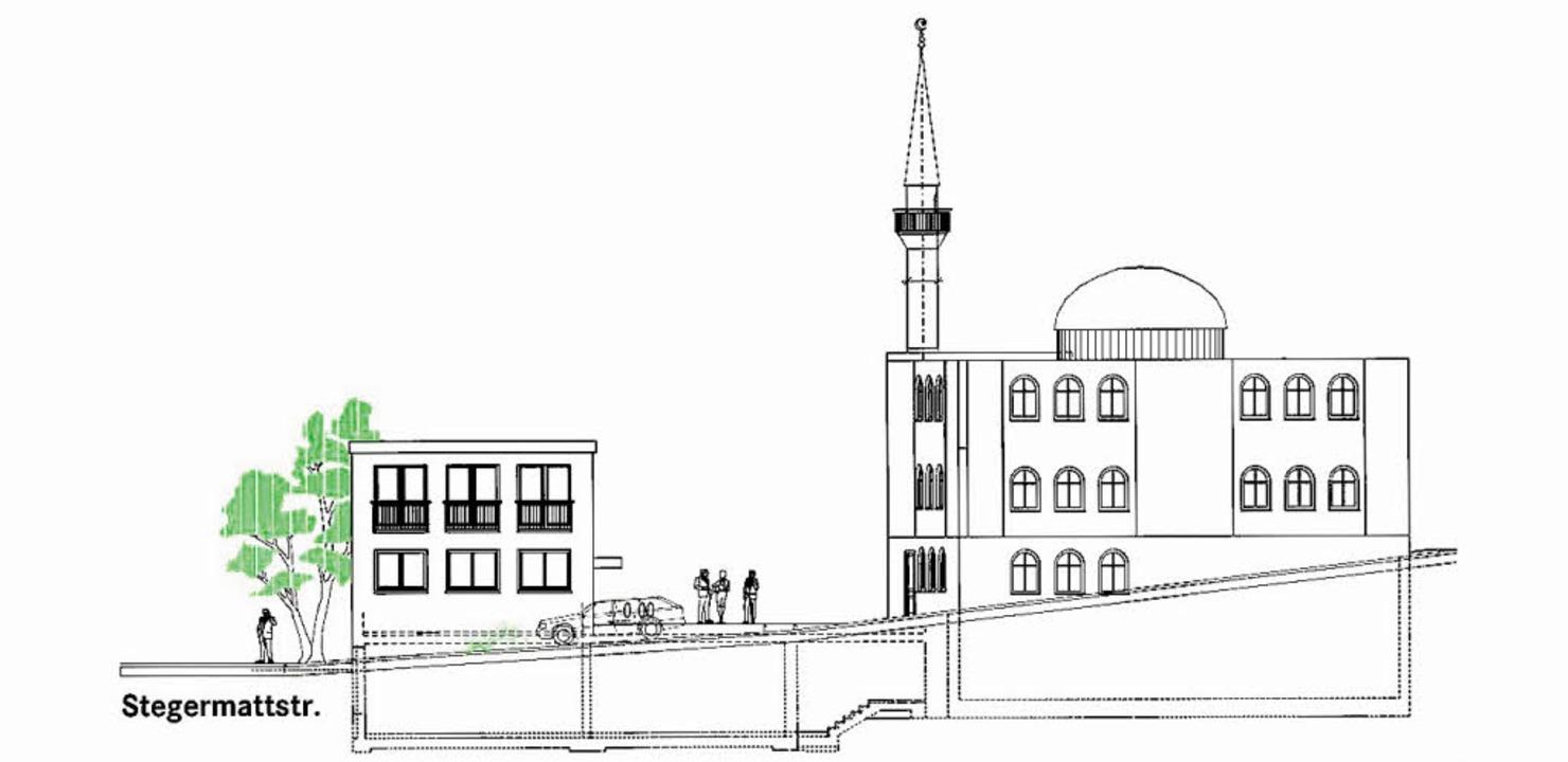 Die Moschee mit Minarett und Jugendraum (l.)   | Foto: Skizze: türk-Islam. Gemeinde