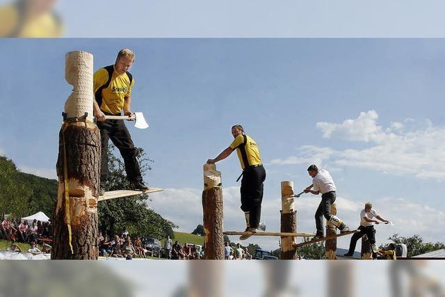 Holzfällermeisterschaften: Männer, Äxte, Motorsägen