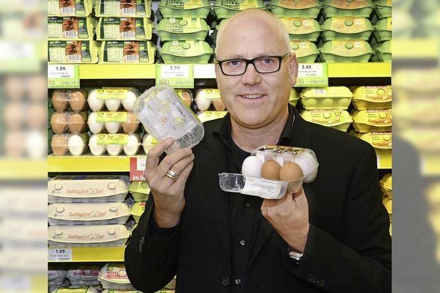 Tüftler testet neuartige Eier-Verpackung in Freiburger Supermärkten