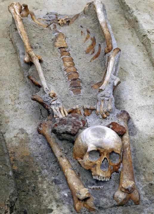 Der abgetrennte Kopf sollte nach altem...ern – Skelettfund bei Gleiwitz.   | Foto: dpa