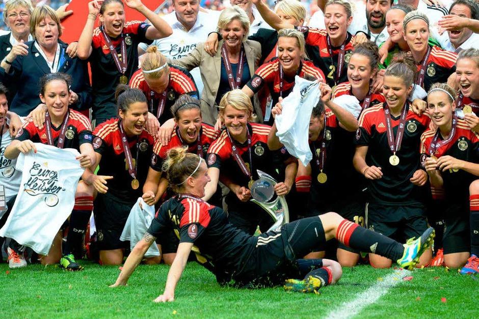 Deutsche Fußball-Frauen sind zum 8. Mal Europameister – dank Torhüterin Nadine Angerer. (Foto: AFP)