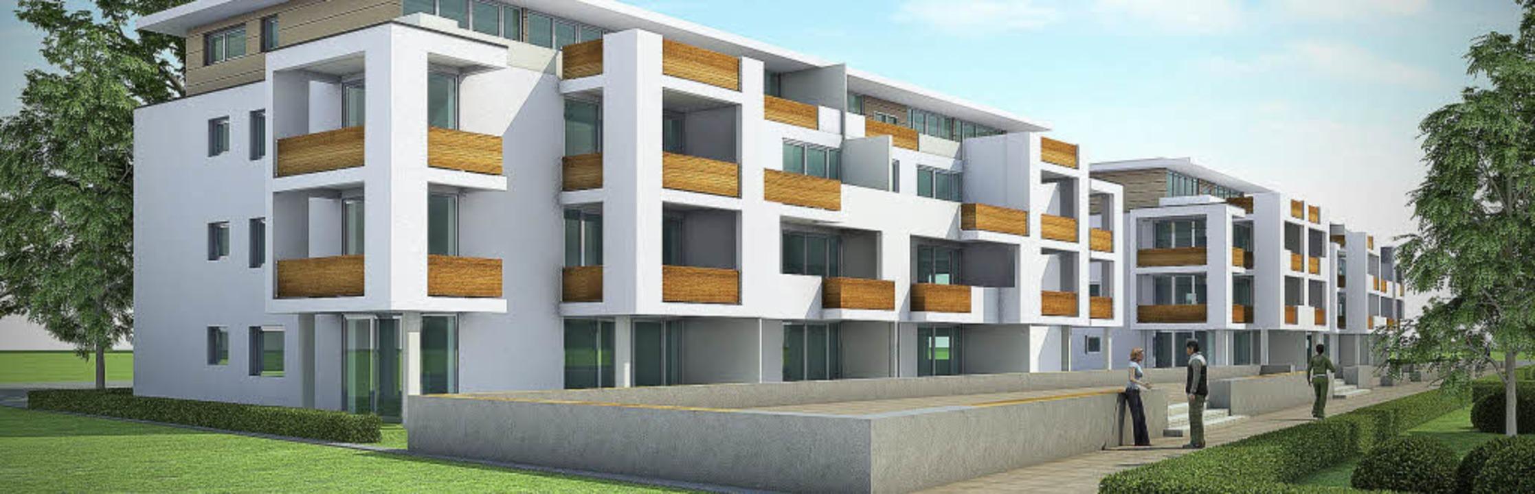 Eine erste Visualisierung der Bebauung...für sechs Mehrfamilienhäuser anstrebt   | Foto: blauen carree