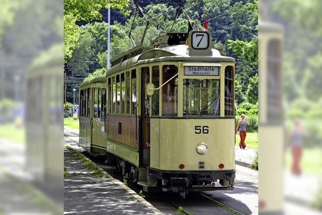 In Freiburg fahren historische Straßenbahnen