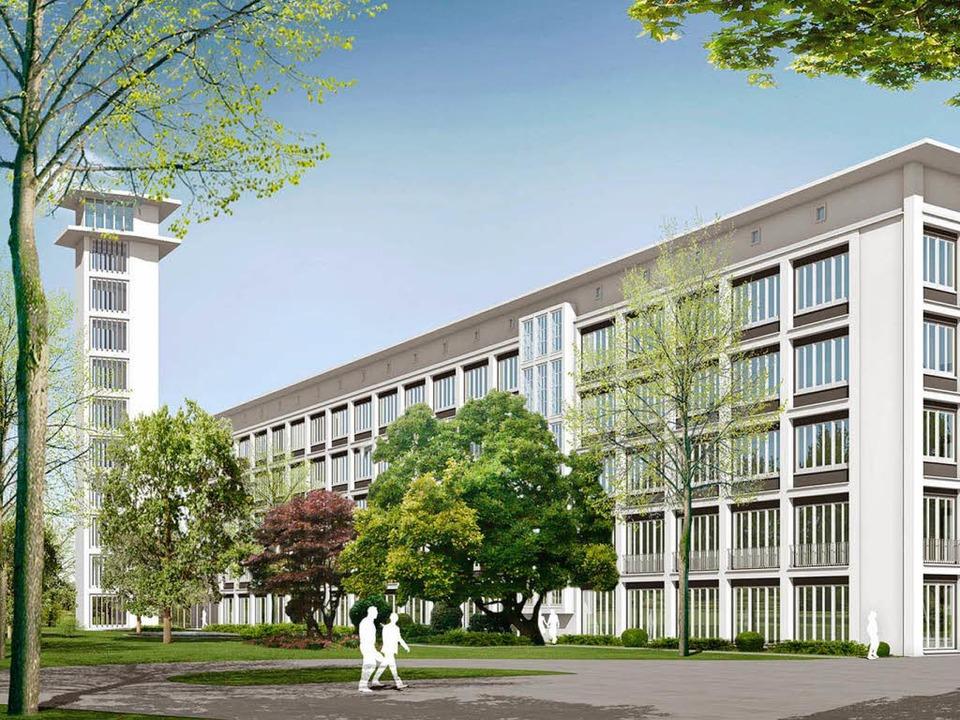 Der Entwurf von Harter & Kanzler f...den früheren Kraftwerkskamin verhüllt.  | Foto: Hubert Burda Media