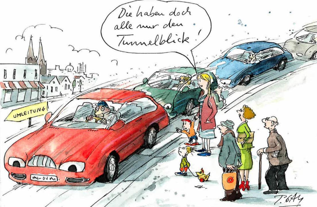 Verbissene Autofahrer hinterm Lenkrad:...lsperrung mit sich bringt, herstellt.   | Foto: Cartoon: Gaymann