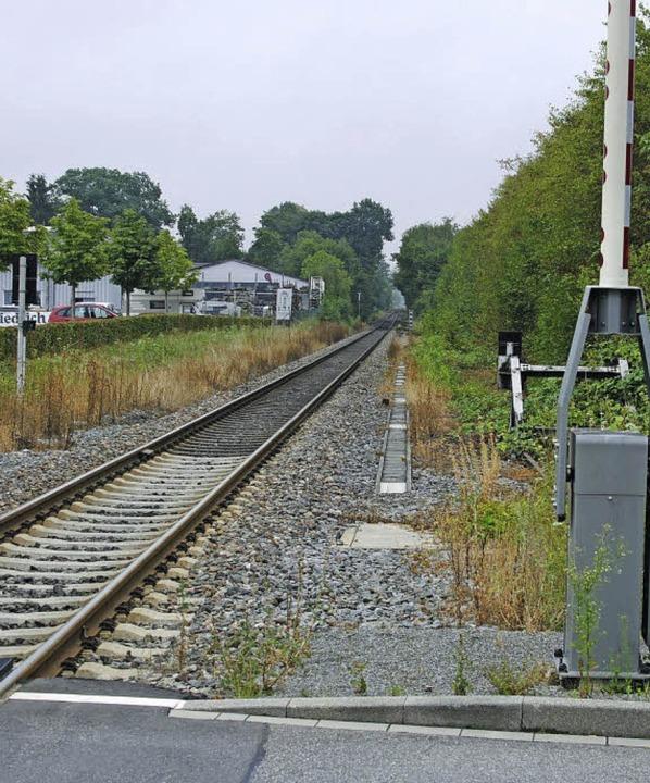 Zwei Wochen lang fährt kein Zug von Fr...e in den Bahnhof Gottenheim (rechts).   | Foto: manfred frietsch