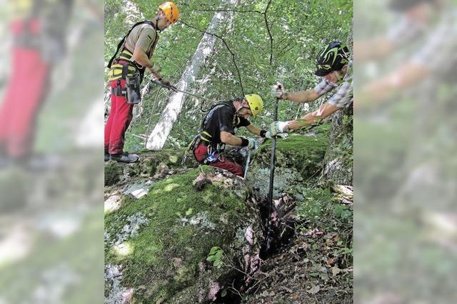 Ein bayrisches Felsräum-Team sichert den Hang über der L 154 bei Tiefenstein