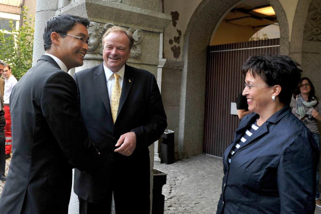 Geballte Liberalen-Power in Freiburg: Rösler, Niebel, Homburger  | Foto: RITA EGGSTEIN