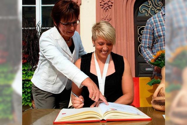 Offenburg gratuliert Christina Obergföll zu Gold
