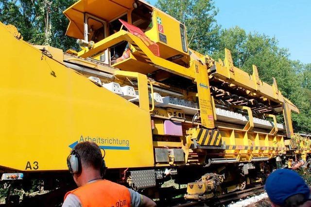 250 Meter langer Gleisbauzug im Einsatz