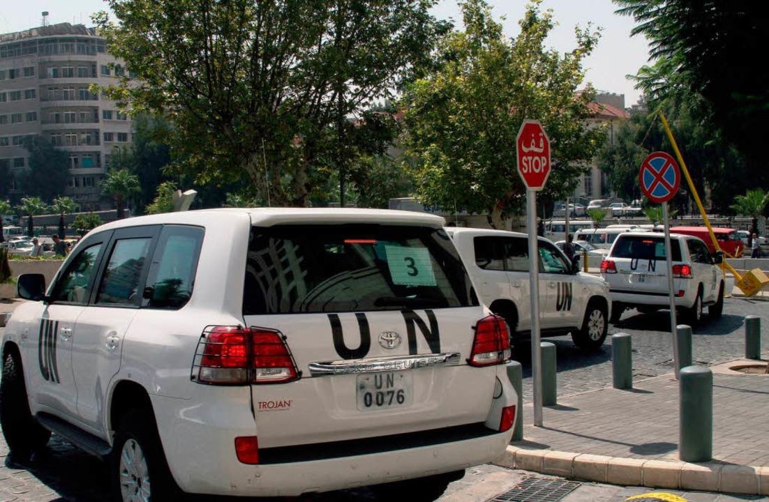 UN-Fahrzeuge in Damaskus  | Foto: AFP