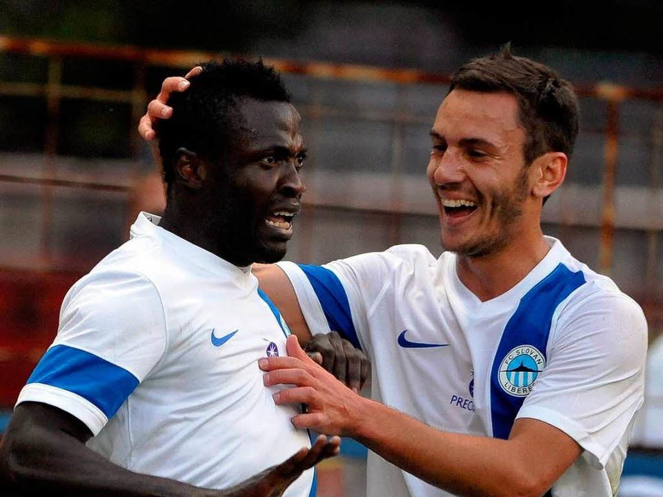 Jubel bei Slovan Liberec: In der letzt...y Rybalka immerhin Udinese Calcio aus.  | Foto: dpa