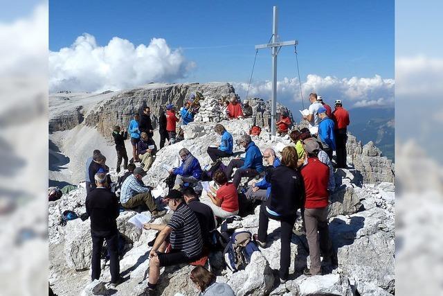 Gipfelmesse auf der Pisciadu-Spitze