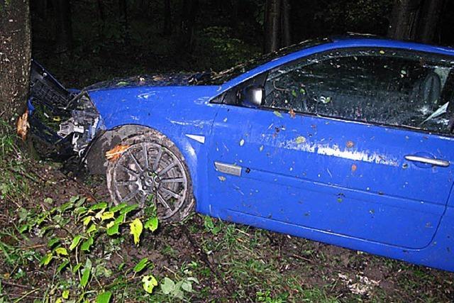 Nach Unfall im Wald gelandet