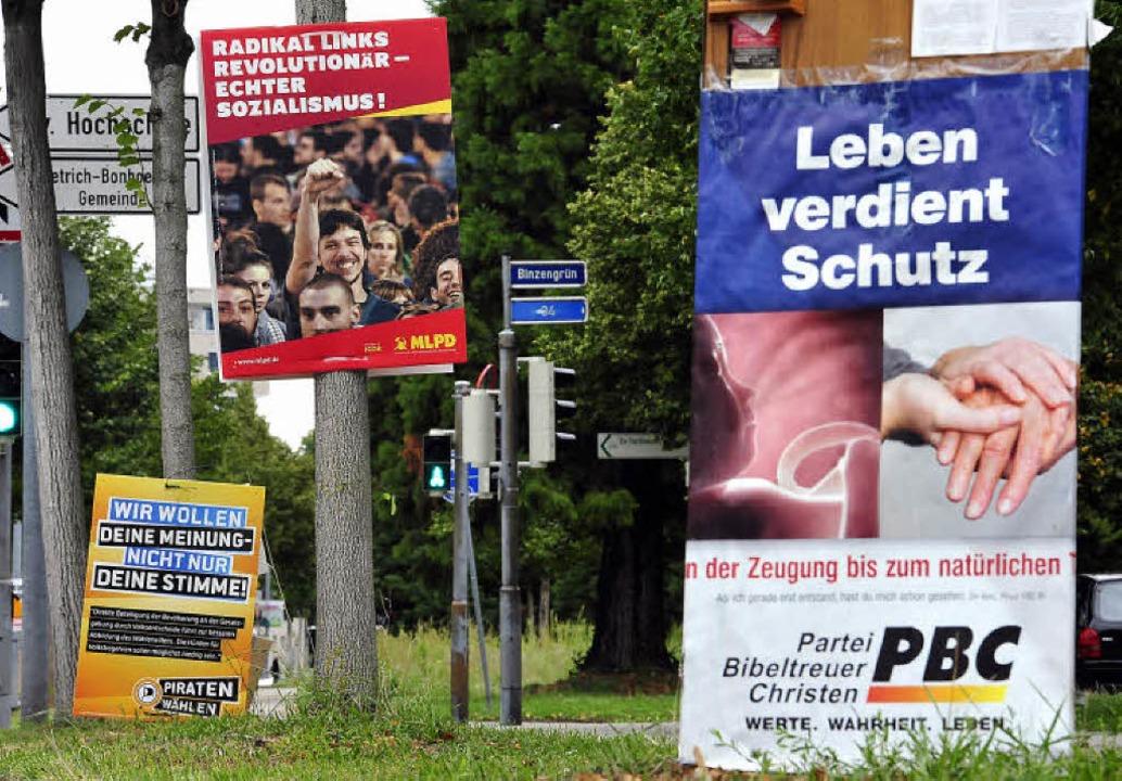 Alles so schön bunt: Auch nicht etabli...ien und Kandidaten werben um Stimmen.     Foto: Thomas Kunz/BZ