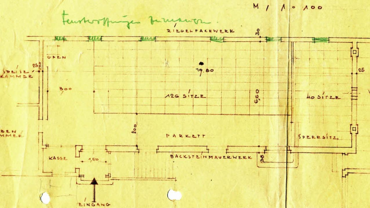 Plan des einstigen Kinos in Ottenheim    Foto: Inge u. Martin Frenk
