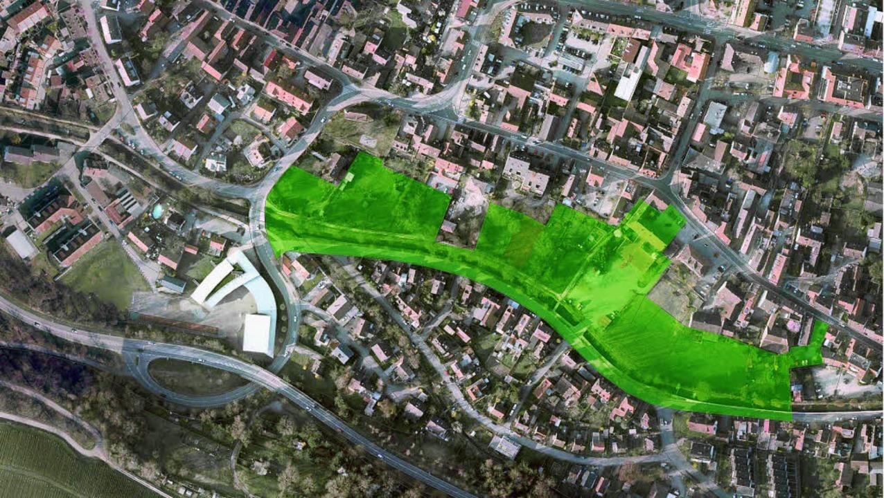 Die Stadt will für den Klemmbach-Berei... städtebaulichen Wettbewerb ausloben.   | Foto: Luftbild: Stadt Müllheim