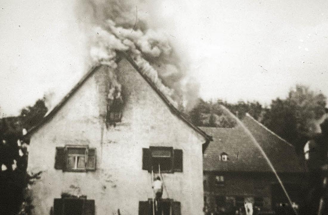 Der Brand am  Kähle-Eck 1958   | Foto: Archiv