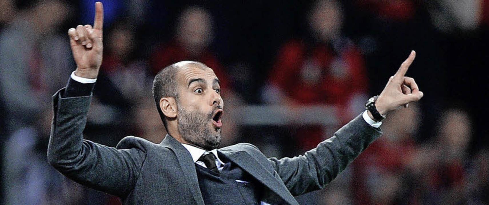 Man könnte meinen, Bayern-Coach Pep Gu...lässt ihn das 1:1 eher ratlos zurück.   | Foto: DPA