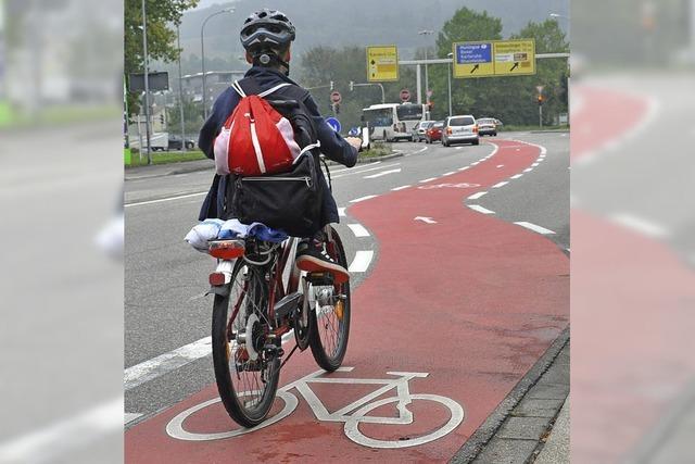 Ein Streifen für Radfahrer
