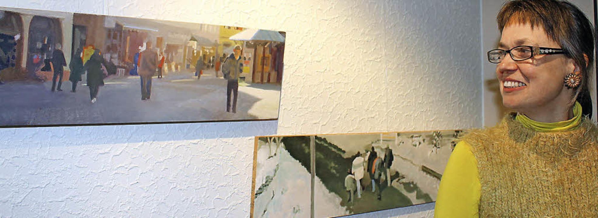 """Auch die Künstlerin Christa Wirth betr...8222;Sonnenstrahl auf Passanten""""    Foto: C. Liebwein"""