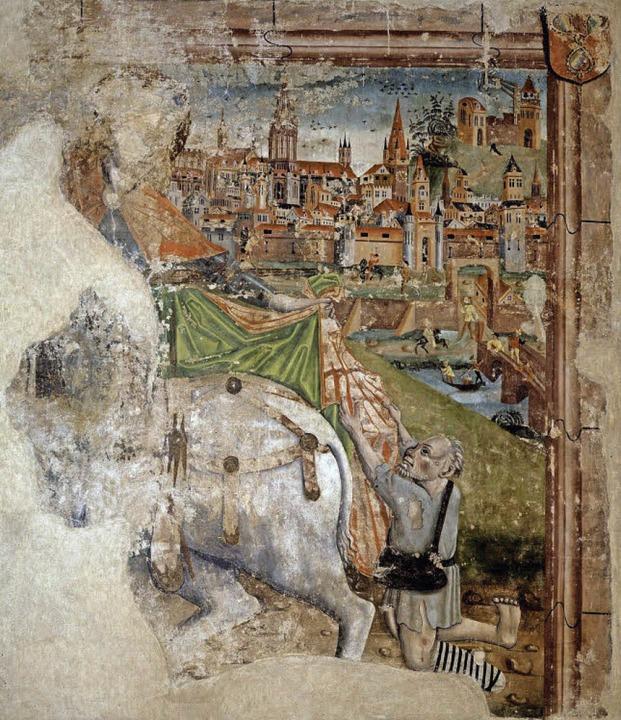 Das Fragment eines um 1480 entstandene...ulisse samt überragendem Münsterturm.   | Foto: Augustinermuseum (Denkmälerarchiv)