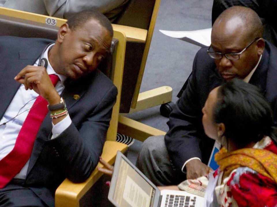 Hat sich durchgesetzt: Kenias Präsiden... Sondergipfel der Afrikanischen Union   | Foto: AFP