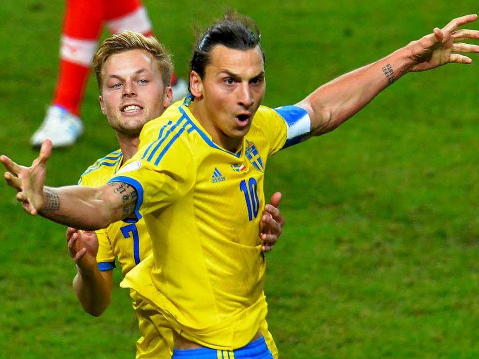 Zlatan Ibrahimovic (vorn), hier mit Sebastian Larsson   | Foto: DPA